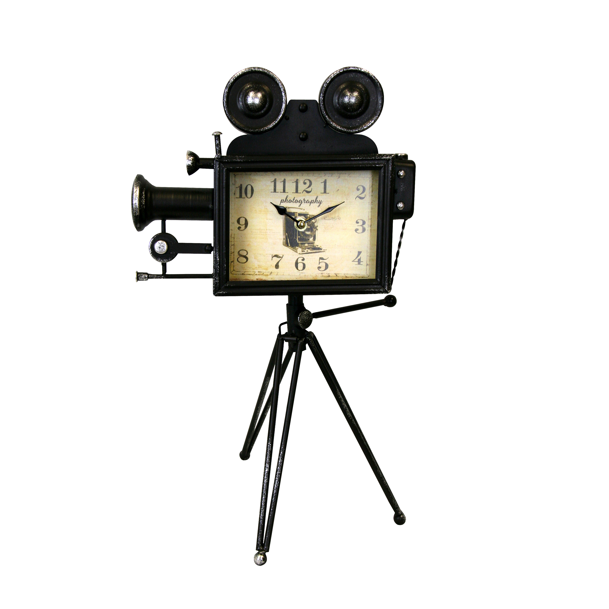 Old Fashioned Camera Metal Table Clock U2013 Rustic Black | Boxman