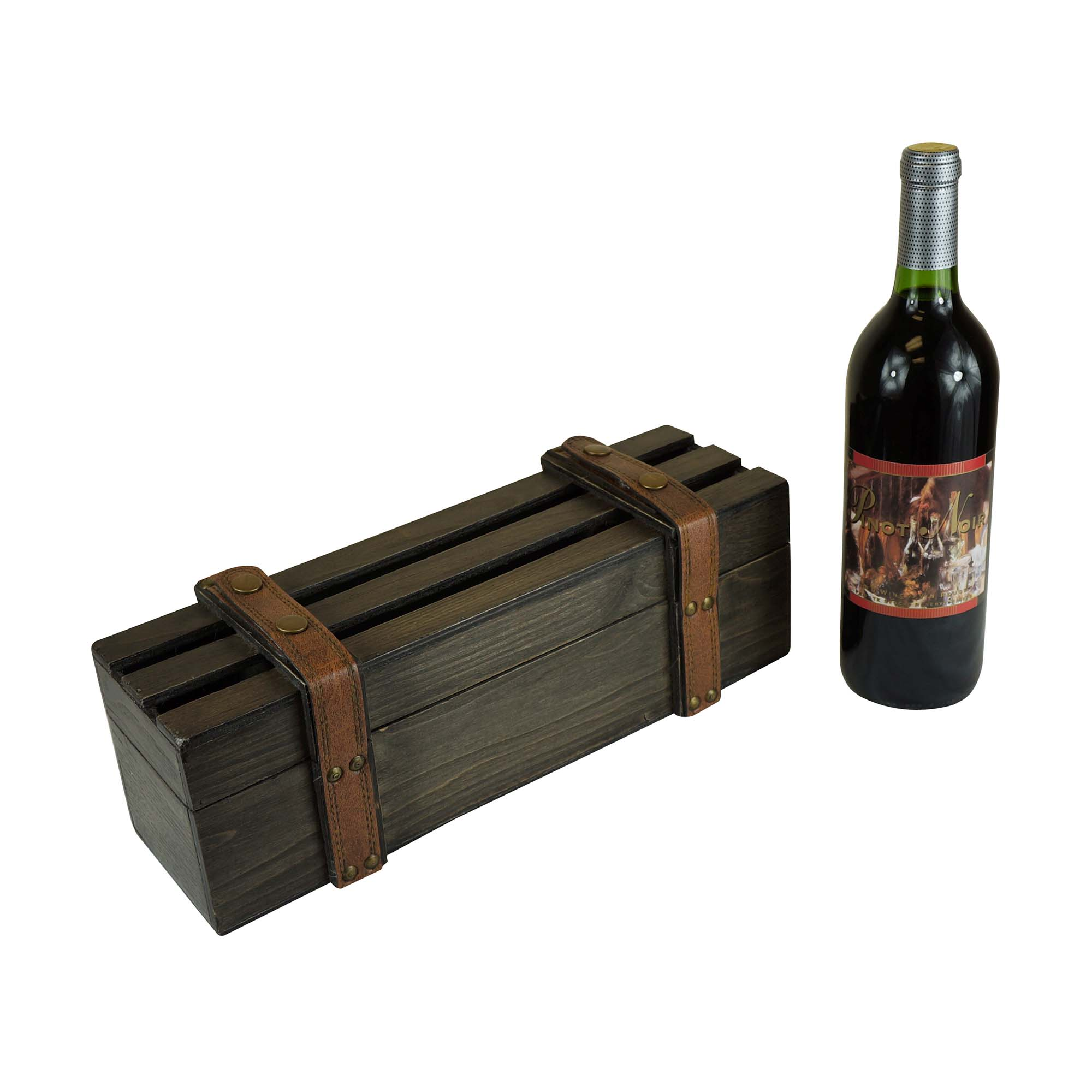 Barn Wood Single Wine Carrier Boxman