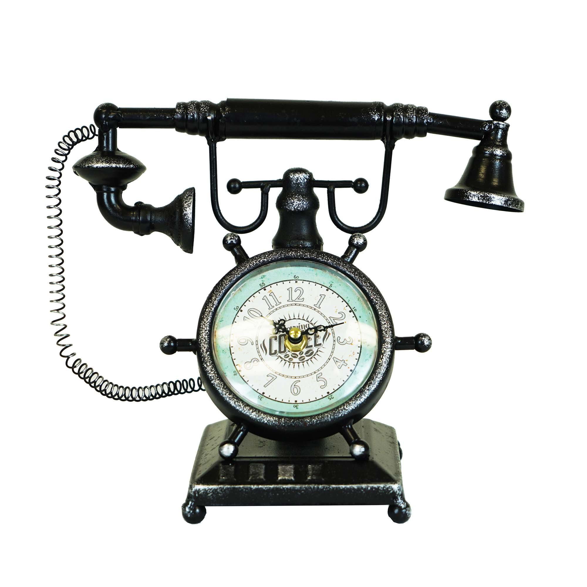 Distressed Brown Vintage Telephone Table Clock Boxman